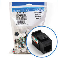 """Leviton 5G108-BE5 GigaMax 5e Connector Quickpack (Black), CAT 5e, 25-pack"""