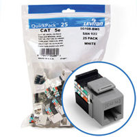 """Leviton 5G108-BG5 GigaMax 5e Connector Quickpack (Gray), CAT 5e, 25-pack"""