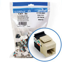 """Leviton 5G108-BI5 GigaMax 5e Connector Quickpack (Ivory), CAT 5e, 25-pack"""