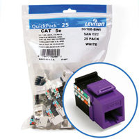"""Leviton 5G108-BP5 GigaMax 5e Connector Quickpack (Purple), CAT 5e, 25-pack"""