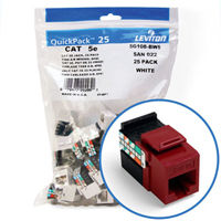 """Leviton 5G108-BR5 GigaMax 5e Connector Quickpack (Red), CAT 5e, 25-pack"""