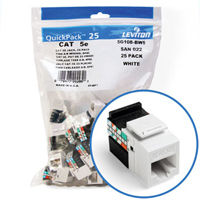 """Leviton 5G108-BW5 GigaMax 5e Connector Quickpack (White), CAT 5e, 25-pack"""