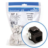 """Leviton 61110-BB6 eXtreme 6+ Connector Quickpack (Brown), CAT 6, 25-pack"""