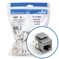 """Leviton 61110-BG6 eXtreme 6+ Connector Quickpack (Gray), CAT 6, 25-pack"""