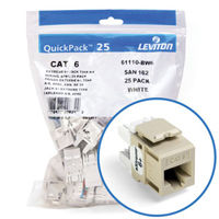 """Leviton 61110-BI6 eXtreme 6+ Connector Quickpack (Ivory), CAT 6, 25-pack"""
