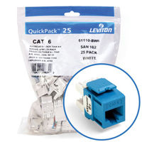 """Leviton 61110-BL6 eXtreme 6+ Connector Quickpack (Blue), CAT 6, 25-pack"""