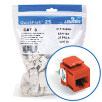 """Leviton 61110-BO6 eXtreme 6+ Connector Quickpack (Orange), CAT 6, 25-pack"""