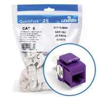 """Leviton 61110-BP6 eXtreme 6+ Connector Quickpack (Purple), CAT 6, 25-pack"""