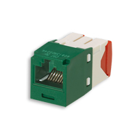 """Panduit CJ5E88TGGR Mini-Com Module, Cat 5e, UTP, 8 pos 8 wire, Universal, Green, TG Style"""