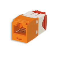 """Panduit CJ5E88TGOR Mini-Com Module, Cat 5e, UTP, 8 pos 8 wire, Orange, TG Style"""