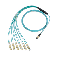 """Panduit FHP5126LM020N MTP to LC duplex 12-fiber OM2 MM plenum rated hydra cable assembly w/std. 24"""" breakout length. 20m"""