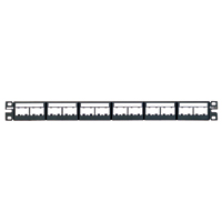 """Panduit CPPL24WBLY 24-port patch panel with labels, supplied with six factory installed CFFPL4 type front removable snap-in faceplates. 1 rack space"""