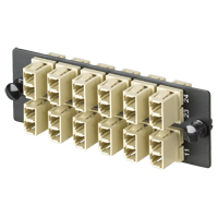 Panduit FAP12WEIDLC LC FAP loaded w/12 LC duplex MM fiber adapters (Electric Ivory) w/phosphor bronze split sleeves.