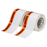 """Brady THTEL-161-483-1-AV Polyester, Orange on White, 4.000, 4.000, 4.125, 4.200, 1, 2 rolls of 500, R6007 Labels"""