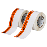 """Brady THTEL-184-483-1-AV Polyester, Orange on White, 3.000, 3.000, 3.125, 3.200, 1, 2 rolls of 500, R6002 Labels"""