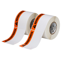 """Brady THTEL-25-483-1-AV Polyester, Orange on White, 6.000, 4.000, 6.125, 4.200, 1, 2 rolls of 500, R6007 Labels"""