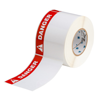"""Brady THTEL-25-483-.5-DA Polyester, Red on White, 6.000, 4.000, 6.125, 4.200, 1, 500, R6007 Labels"""