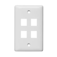 """Hubbell NSP14W 1-gang 4-port keystone plate, White"""