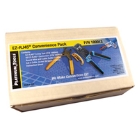 """Platinum Tools 100012 Crimp Tool, 50 Connectors, Coax & Round Wire Cable Cutter & Cat 5 Cable Jacket Stripper, Boxed"""