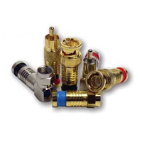"""Platinum Tools 18054 RCA Connector, RG 6, Nickel, 3pc. Clamshell"""