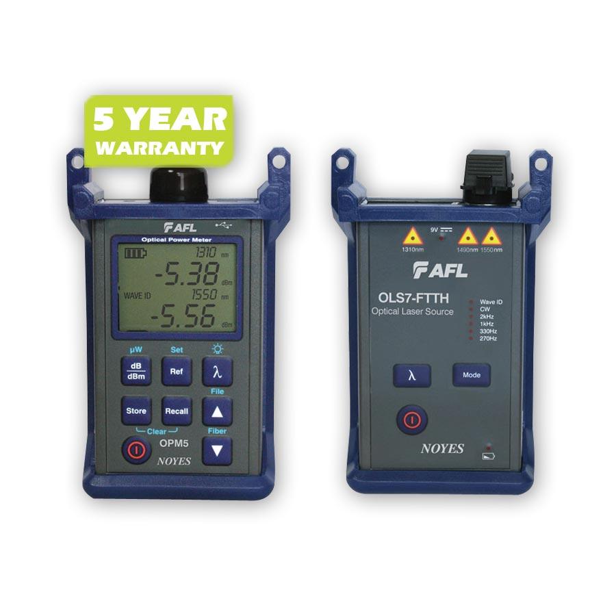 """""""AFL Fiber Tester - SLP5-7 Singe-Mode Test kit with (1) OLS7-3 (1310, 1550, 1625 nm) Source & one (1) OPM5 Power Meter"""""""