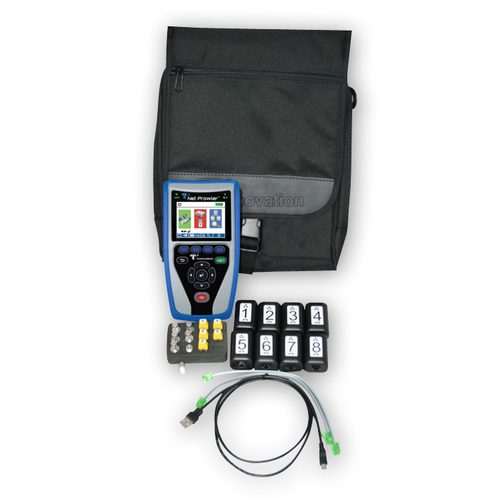 """T3 Innovation NP750 Net Prowler includes 1-5 coax remote, network ID only remote set, 1-8 network, and telephone testing/ID remote set in a large T3 pouch"""