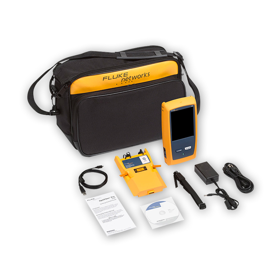 Fluke Networks OFP-100-Q OptiFiber Pro Quad OTDR for troubleshooting and extended certification.