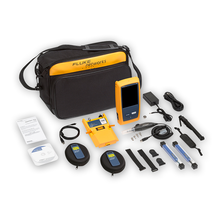 """Fluke Networks OFP-100-SI OptiFiber Pro Quad OTDR for troubleshooting and extended certification, includes OFP-FI and accessories."""