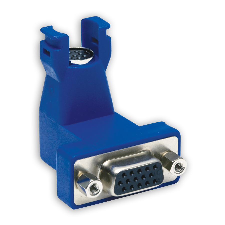 """Hubbell 15N6P1 AV Connector, Plug-n-Play, 15 to 8-pin, Angled 90 degrees"""