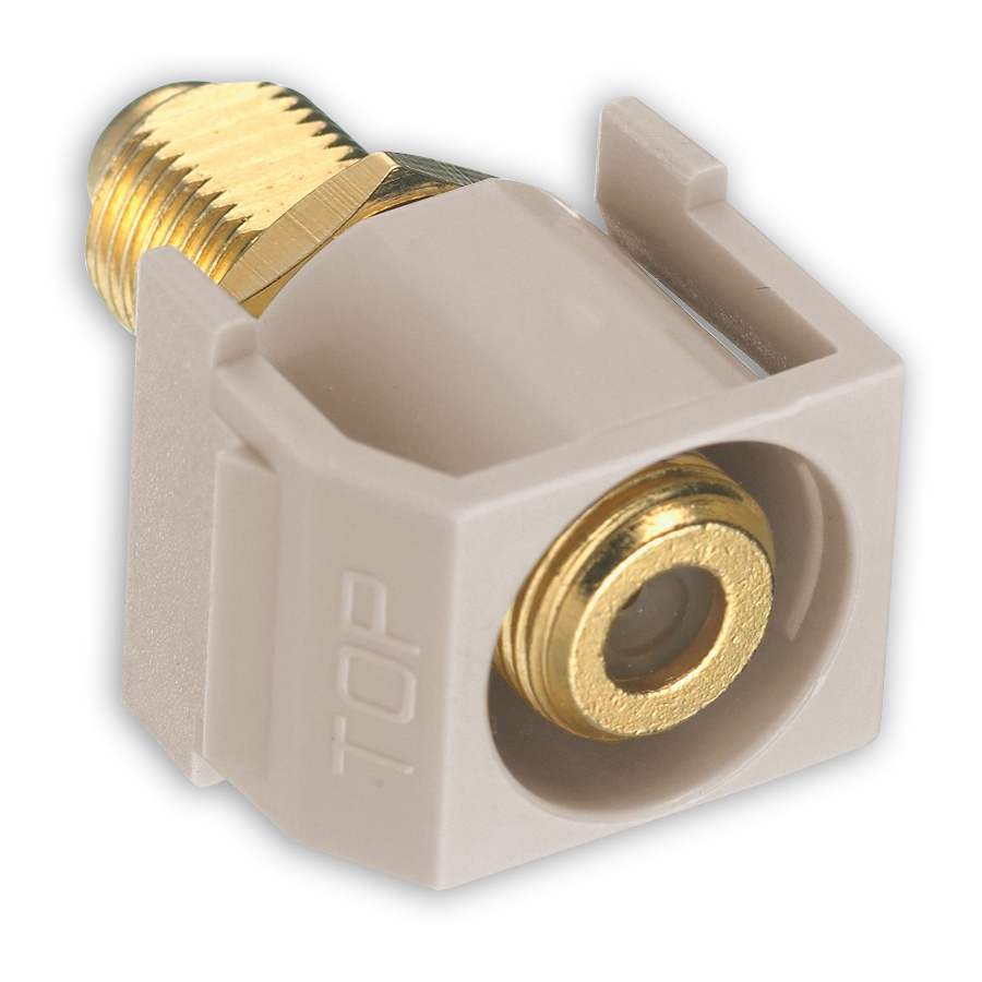 """Hubbell SFGRFXX F-Type Connectors, F-Connector, Gold, Recessed, Pass-Thru, F/F Coupler"""