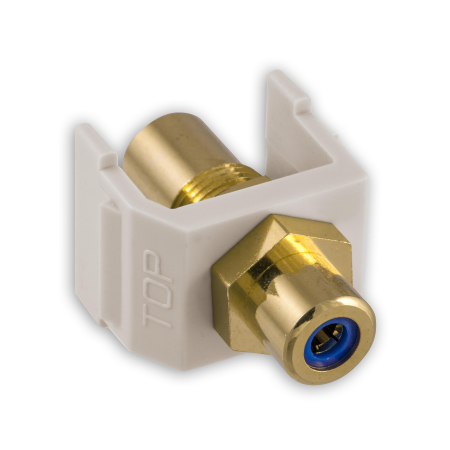 """Hubbell SFRCBFFOW RCA Gold Pass-Thru, F/F Coupler, Office White/Blue"""