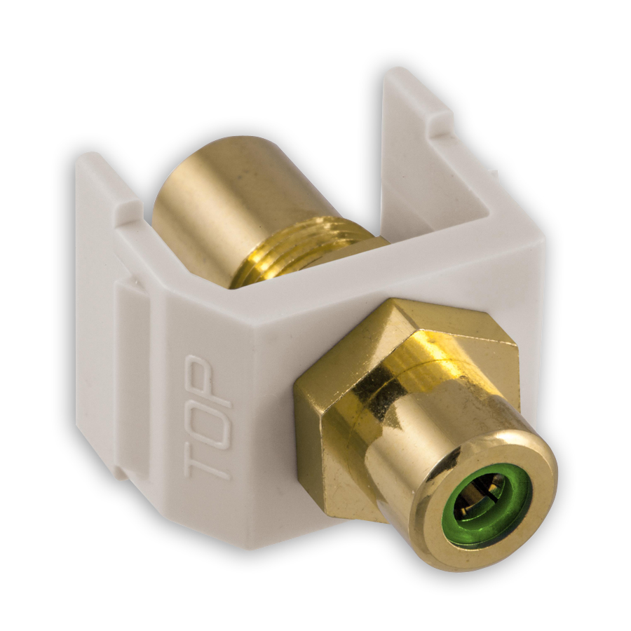 """Hubbell SFRCGNFFOW RCA Gold Pass-Thru, F/F Coupler, Office White/Green"""