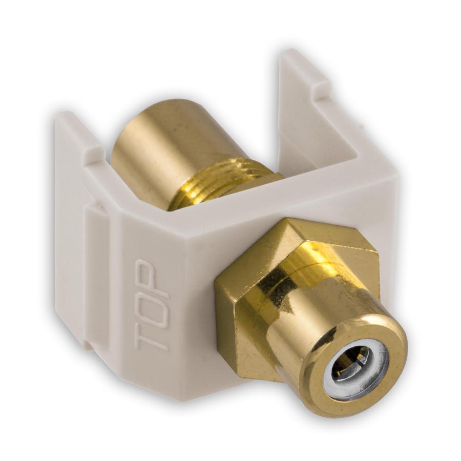 """Hubbell SFRCWFF RCA Gold Pass-Thru, F/F Coupler, White/White Insulator"""