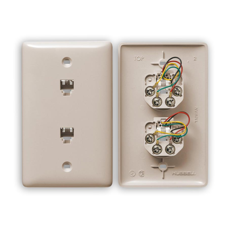 """""""Hubbell NS742xx1 Standard, Molded-In Plates for Voice, 1-Gang, Duplex RJ11 Jack, 6-Position, 4-Conductor, Screw"""""""