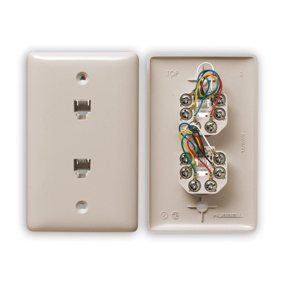 """""""Hubbell NS744xx1 Standard, Molded-In Plates for Voice, 1-Gang, Duplex RJ11 Jack, 6-Position, 6-Conductor, Screw"""""""