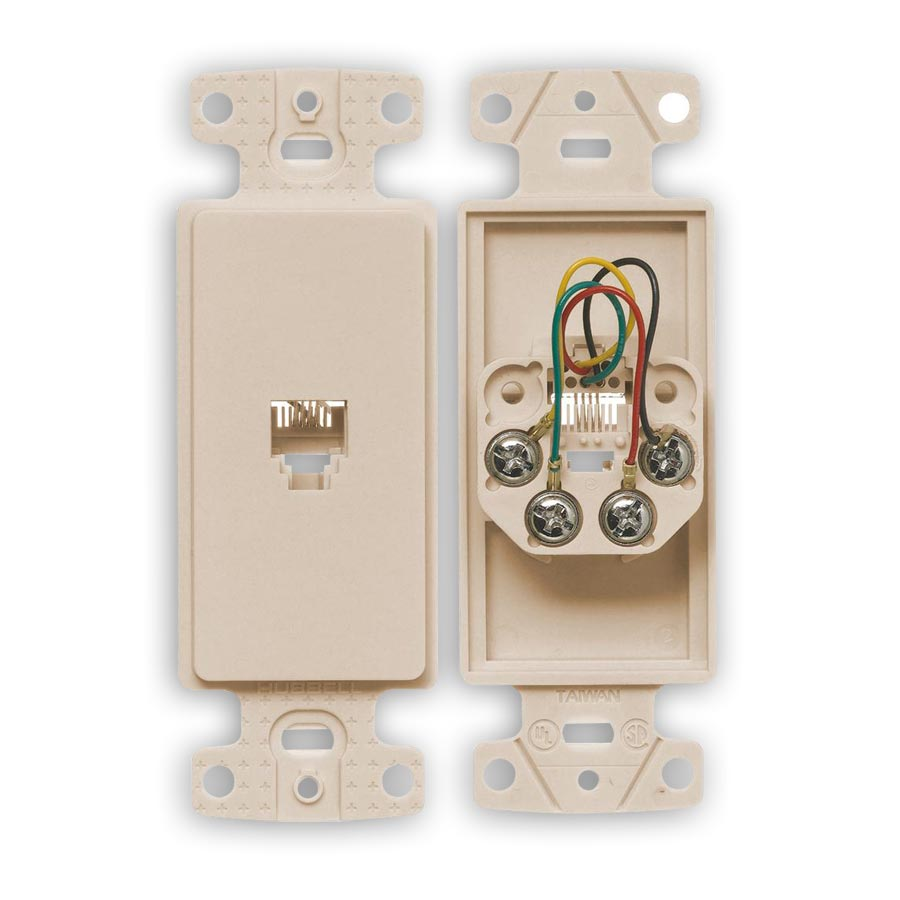 """Hubbell NS770xx Molded-In Voice Data Decorator Frames, One RJ11 Jack, 6-Position, 4-Conductor, Screw"""