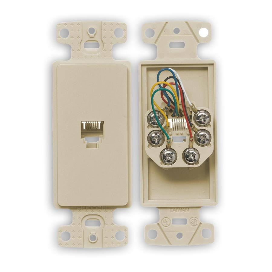 """Hubbell NS771xx Molded-In Voice Data Decorator Frames, One RJ11 Jack, 6-Position, 6-Conductor, Screw"""