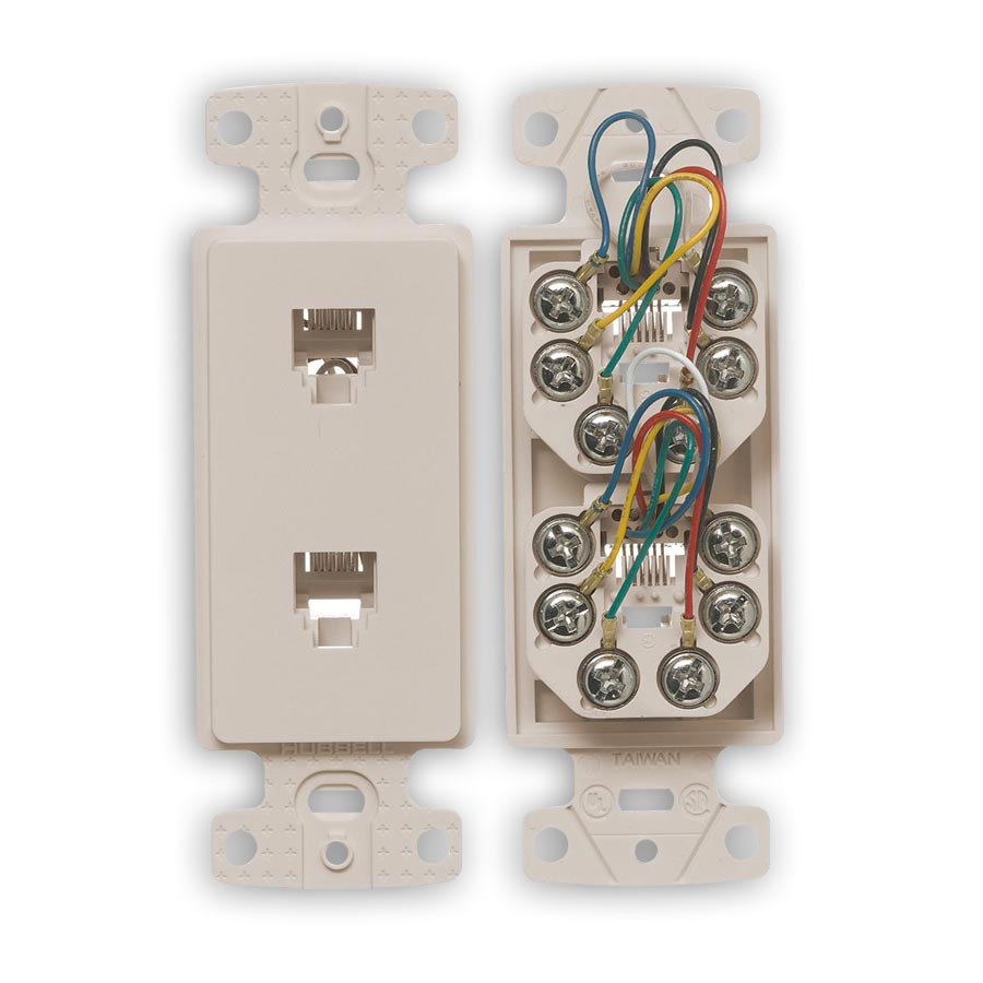 """Hubbell NS772xx Molded-In Voice Data Decorator Frames, Duplex RJ11 Jack, 6-Position, 6-Conductor, Screw"""