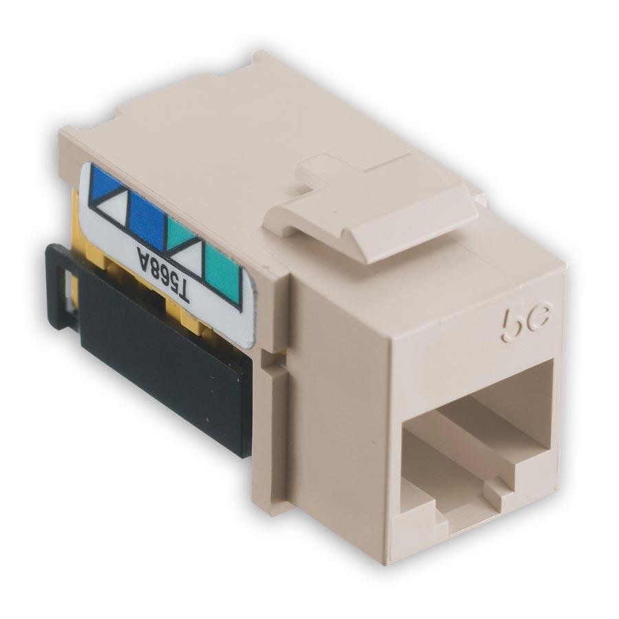 Hubbell NSJ5ELA25 netSELECT« Modular Snap Fit Cat. 5e Jack (25 pack) Light Almound