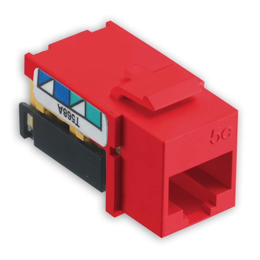 Hubbell NSJ5ER netSELECT« Modular Snap Fit Cat. 5e Jack (single) Red