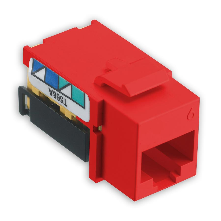 Hubbell NSJ6R netSELECT« Modular Snap Fit Cat. 6 Jack (single) Red