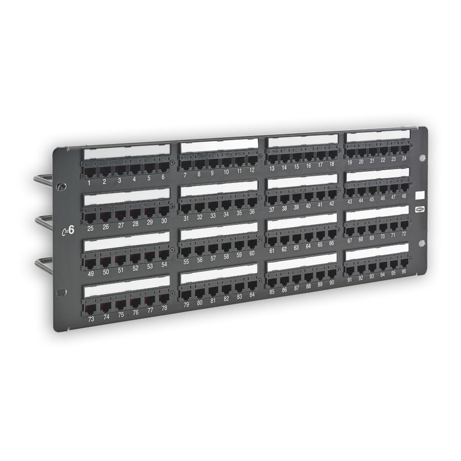 """Hubbell HP696 Patch Panel, Category 6, Universal, Black, 96-port"""