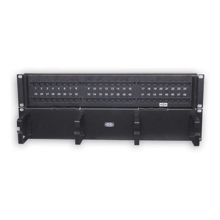 """Hubbell P648UF19 Patch Panel, Rack Mount, Cat6, Universal, 48-port"""