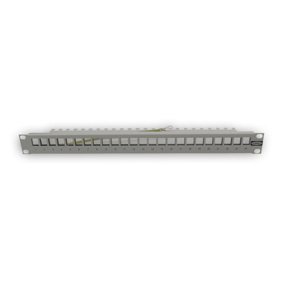 """Hubbell PSJ24S NEXTSPEED Shielded Patch Panels, Unloaded, 24 Ports, flat, Silver"""