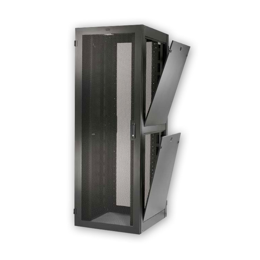 """Hubbell H2N8036E Network Cabinet Without sides, 43 rack units, 80""""H x 30""""W x 36""""D, Black"""