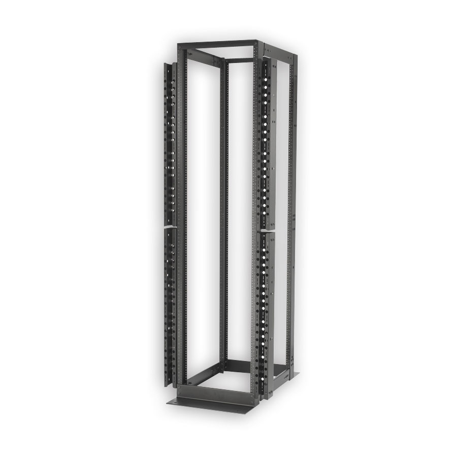 """Hubbell SF841936 4-Post, 19"""" Equipment Rack, 45 Rack units, 84""""H x 20.2""""W x 36""""D, Square M6, Black"""