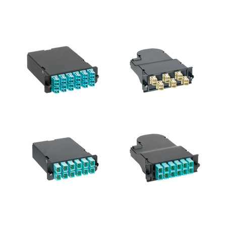 Panduit FCXO-24-10Y Optimized OM3 10Gig 50/125um 12 LC duplex adapters to two male 12-fiber pre-terminated MTP connectors.