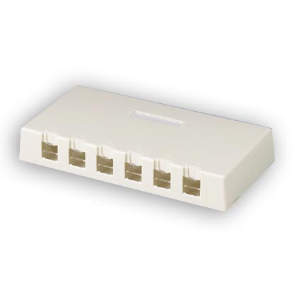 """Panduit CBXSD6IW-AY Deep surface mount box with 6 ports (includes cable routing bridge). 1.16""""H x 7.58""""W x 3.86""""L"""
