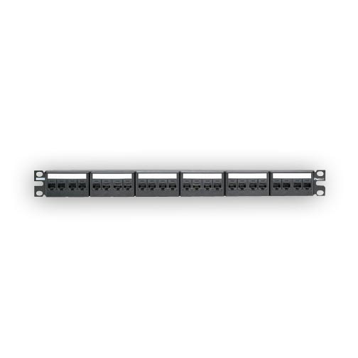 Panduit CPPKA6G24WBL 24-port angled patch panel with 24 CJ688TGBL jack modules.