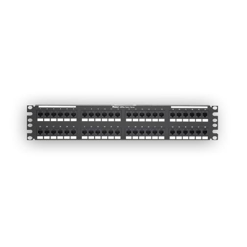 """Panduit DP485E88TGY 48-port, Cat5e, patch panel with 48 RJ45, 8-position, 8-wire ports. 2 rack spaces"""